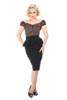 Collectif Mainline Pepper Peplum Skirt - Collectif Mainline from Collectif UK