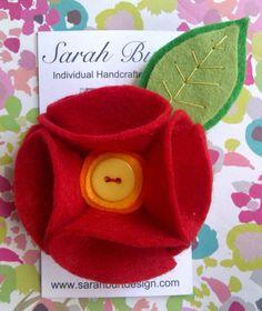 Red Felt Flower Brooch with Button Centre - Sarah Burt Design