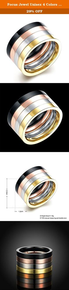 Focus Jewel Unisex 4 Colors Four-tones Black Silver Rosegold Gold Plain Stacking Band Wedding Ring US7-10. It's a perfect gifts idea for your friends. Beautiful gift box is free provided. It's super suitable accessory for party, fashion show or other activities. Our name is Focus Jewel, choosing us is choosing high quality in best price. High Quality in Titanium Steel, Shiny looking in Great Touching Feeling; Comfort Fit and Good Price; Well Polished Finish, It will never Get Fade or...