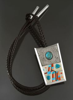 Silver & Multi-Stone Inlay Bolo Tie by Richard Tsosie (Navajo)