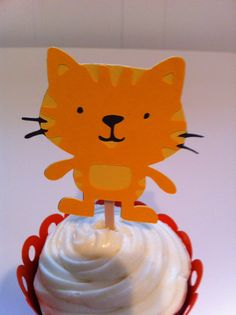 Little Kitty Cupcake Topper by JellyBeanPaper on Etsy, $8.00