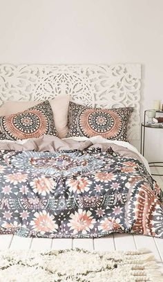 Magical Thinking Moroccan Tile Duvet Cover - a gorgeous addition to a boho themed bedroom. I love the muted colors in the pattern, as you can see they go well with a cream decor to create a calm and restful bedroom theme. Dream Bedroom, Home Bedroom, Bedroom Decor, Bedroom Ideas, Master Bedroom, Bedroom Beach, Master Suite, Bedroom Colors, 1930s Bedroom