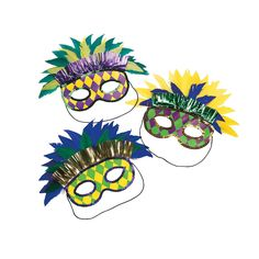 chicken dinner - Geometric Print Feather Mardi Gras Masks - OrientalTrading.com - for table decorations?