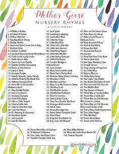 Mother Goose Nursery Rhymes: A List of best 100 nursery rhymes