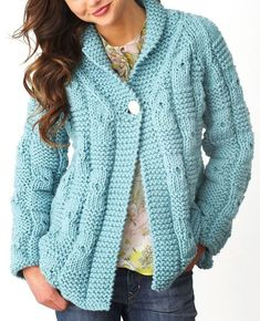 Free Knitting Pattern for Quick Textured Checks Cardigan - This long-sleeved sweater features an over sized check pattern and a shawl collar. It's a quick knit in super bulky yarn. Designed by Bernat Design Studio. Sizes XS/S, M, L, XL, 2/3XL, 4/5XL