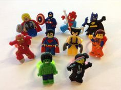 10 Piece Set Lego Movie Rings Party Favor Cupcake Toppers