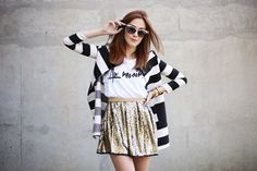 Gold and black and white stripes -- Love this outfit!