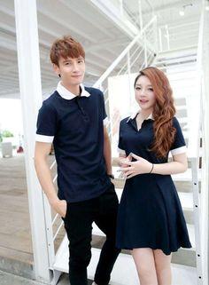 3abd65abcd7 Korean Fashion Sport Color Block Lapel Neck Couple Polo Shirts Royal Blue  Matching Couple Shirts