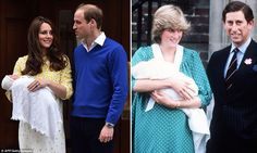 The Duke and Duchess of Cambridge leaving the Lindo Wing on May 2, 2015 with Princess Charlotte (left) and The Prince and Princess of Wales leaving the Lindo Wing with Prince William on June 22, 1982 (he was born on June 21) (right)