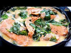 Creamy Salmon Recipe with Spinach - YouTube Recipe Videos, Food Videos, Salmon Spinach Recipes, My Recipes, Healthy Recipes, Creamy Spinach, Youtube, Healthy Eating Recipes, Healthy Food Recipes