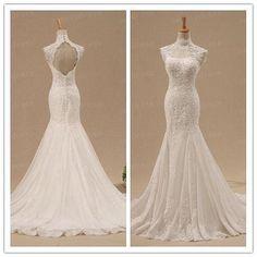 High Collar Prom Dress,Mermaid Prom Dress,Lace Prom Dress,Fashion