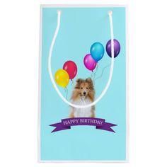 #Sheltie Shetland #Sheepdog Happy #Birthday #Gift #Bag #balloons #dog #animal #pet
