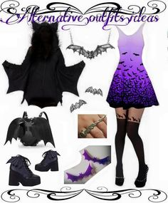 Another great style idea from our friends at @alternative.outfits.ideas Find these pieces on #RebelsMarket #bats #goth #Halloween