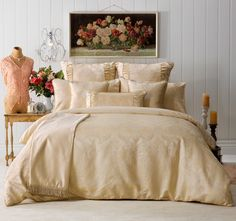 Annabelle Quilt Cover Set Range Gold - Quilt Covers - Bed