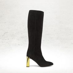 The Fendi Fall/Winter 2014-15 black Eloise suede boot with galvanized metallic mid heel. For more luxury fashion, visit http://balharbourshops.com/