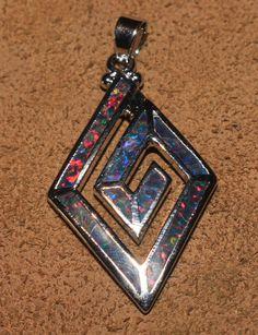 fire opal necklace pendant Gemstone silver jewelry modern Greek Key design M098 #Pendant