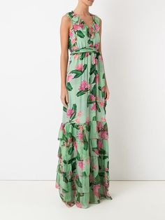 Isolda Vestido longo floral de seda