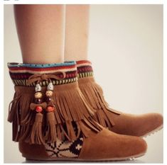 shoes boots indian fringe tribal cute