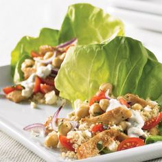 Mediterranean Lettuce Wraps - The Pampered Chef®** Low fat & Low carb……  Myust try this for lunch….   Visit my Website for more Recipes/Tips and product ideas….. www.pamperedchef.biz/cookinwithdebbie  :)