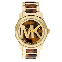 This classic timepiece by Michael Kors features a stainless steel case and bracelet. A tortoise dial, precise quartz movement and a water-resistance level of up to 50 meters finish this fine timepiece.