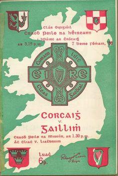 1956 All-Ireland Senior Football Final programme, Cork v Galway Football Final, Dere, Irish Celtic, Programming, Ireland, Typography, Posters, Magic, Sport