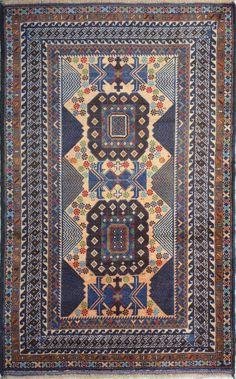 "Handmade Afghan Navy Blue Oriental Tribal Baluchi Rug 3' 9"" x 6' 1"" (ft) - No. 12143  http://alrug.com/navy-blue-oriental-tribal-baluchi-rug-3-9-x-6-1-ft-no-12143.html"
