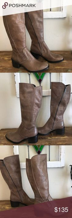 """DONALD PLINER ENVY KNEE HIGH BOOTS """"NEW"""" TAUPE 11 NEW """"NEVER WORN"""" Donald PLINER ENVY KNEE HIGH taupe boots SZ 11 is TRUE TO SIZE, Shaft  17.5"""", circumference 15.5"""", could be up to 16"""" as the boot has an expandable portion at top, heel height 2.5"""", side zip closure. This boot is new, never worn, but does show marks on leather from other boots in the bin at Nordstroms. Please zoom in as there are pictures of all angles. The boot is already distressed leather and the marks just add to the…"""