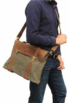 Amazon.com: Otium 30311AMG Cotton Canvas Genuine Leather Cross Body Laptop Messenger Bag Business Satchel Handbag (Army Green): Clothing