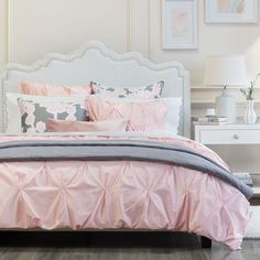 Bedroom inspiration and bedding decor | The Valencia Pink Pintuck Duvet Cover | Crane and Canopy