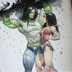 She-Hulk and Wonder Woman by Otto Schmidt Comic Book Characters, Marvel Characters, Comic Character, Comic Books Art, Comic Art, Character Sketches, Character Illustration, Marvel Fanart, Marvel Comics Art