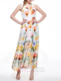 Ericdress Print V-Neck Sleeveless Maxi Dress Maxi Dresses