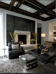 Shaggy gray carpet with black accent wall and furniture