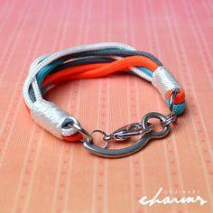 Skydive bracelet (skydive closing pin bracelet) in orange, blue, gray and white #ordinarycharms #closing_pin_bracelet #Skydiving #skydiver #blueskies #blue_skies