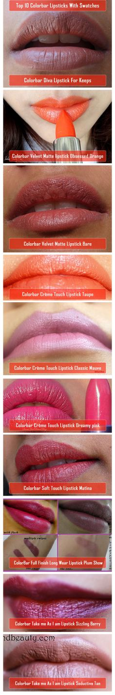 Colorbar Lipsticks With Swatches