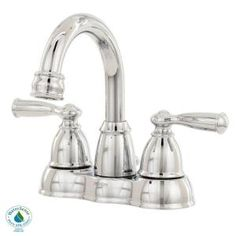 $75.90  Banbury 4 in. Centerset 2-Handle High-Arc Bathroom Faucet in Chrome-CA84913 at The Home Depot