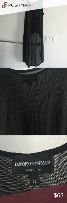 Emporio Armani High Low Knit black top Wear with leather leggings or skinny jeans! Armani Exchange Tops Tank Tops
