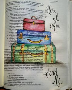 Isaiah 6:8  Equipped and willing: Here I am...send me.  #biblejournaling #faithjournal #scripturejournal #scripture #biblejournalingcommunity #biblejournal #scriptureart #illustratedscripture #illustratedfaith #biblejournalinglife #noteworthytruth #soulscripts #shereadstruth #shepaintstruth #imprintedheart #biblestudymoments #watercolor #ink by a.neighbours