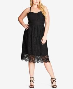 City Chic Trendy Plus Size Eyelash Lace Dress - Black XXL