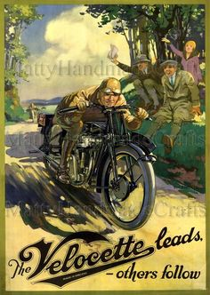 Velocette, British Motorcycle, Veloce, Art Deco, Advertising Print by NattyMatty Motorcycle Images, Motorcycle Posters, Motorcycle Art, Bike Art, Women Motorcycle, British Motorcycles, Triumph Motorcycles, Vintage Motorcycles, Vintage Advertisements