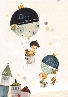 "Children's image ""You and I"" hot air balloons (poster) - Kinder Ballon Illustration, Children's Book Illustration, Children Images, Mural Painting, Baby Decor, Hot Air Balloon, Cute Drawings, Illustrators, Balloons"