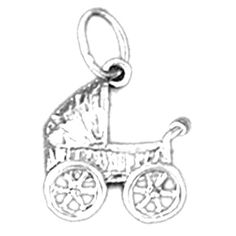 "Rhodium-plated 925 Silver 17mm Baby Carriage Pendant Necklace. 30 Day Money Back Guarantee. Manufactured by JewelsObsession with the highest quality 925 sterling silver. Pendant Gram Weight: 0.85 / Avg. Chain Gram Weight: 6.04. Pendant Dimension: Length: 17 mm x Width: 12 mm. Includes Rhodium-plated 925 Sterling Silver 1.5mm Cable Chain 16"", 18"", 20"", 22"", 24"" & 30"" Length."