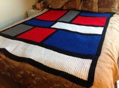 Crochet Mondrian inspired blanket, gift