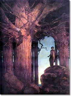 """Maxfield Parrish - """"Jason and the Talking Oak"""" (1908)"""