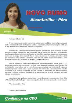 Carta da Candidata Cabeça de Lista pela CDU à Junta de Freguesia de Alcantarilha e Pêra.  Autarquias 2013. #Silves #Alcantarilha #Pêra #CDU #Autárquicas2013