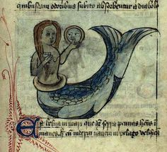England, 15th century. The Latin guide to animal life (Bestiarius)  in a manuscript that is illustrated with more than 100 washed #drawings, among which a #mermaid.