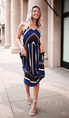 Stay chic in this cute striped dress! Available in blue, light blue, wine red, or green. Made from ultra-smooth fabric for the best fit possible!