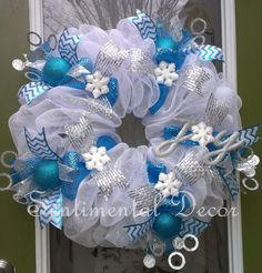 Winter Wonderland Wreath- Turquoise and White www.Etsy.com/Shop/SentimentalDecor