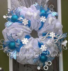 Winter Wonderland Wreath- Turquoise and White www.Etsy.com/Shop/SentimentalDecor