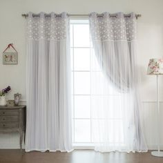 Aurora Home Floral Lace Overlay Thermal Insulated Blackout Grommet Top Curtain Panel Pair