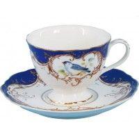 2 Royal Blue Bird Porcelain Tea Cups and Saucers (2 Teacups and 2 Saucers)
